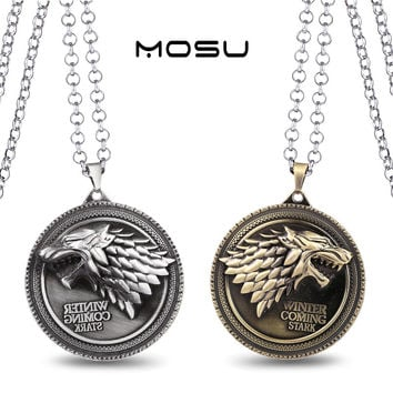 Game of Thrones House Stark Metal Necklace can dropshipping Charm Pendant Cosplay Accessories Jewelry Gift