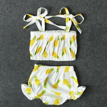 Childrens Swimsuit Cute [Bosudhsou] ASL-11  Girls Pineapple Print Bikini Baby Swimwear Kids Beach Bathing Suit Two Pieces Children Clothing KO_25_2