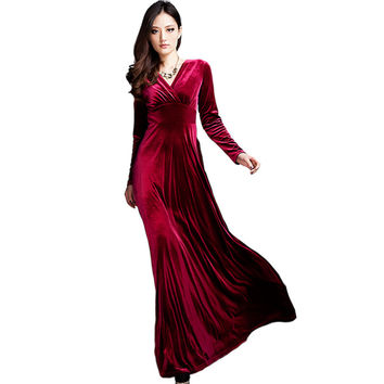 Long Dress Plus Size S~3XL Women Winter Dresses Long Sleeve V Neck Maxi Dress Velour Women Sexy Party Night Club Dress