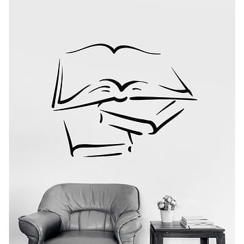 Vinyl Wall Decal Open Book Read Lover Library Writer Stickers Unique Gift (1696ig)