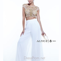 Crop Top & Pant Suit Formal Prom Gown By Alyce Paris 6373