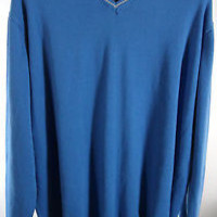 V-Neck Sweater King Size 4XLT Big & Tall Combed Cotton Blue & Gold Solid