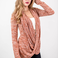 Rust Heathered Cowl Neck Top