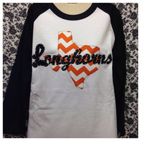 Bling 3/4 Sleeve Chevron Texas Longhorns Shirt