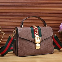GUCCI Women Fashion Stripe Leather Crossbody Handbag Shoulder Bag Satchel
