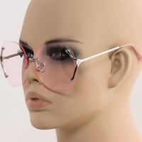 Crystal Cut OVERSIZED Gradient Lens Rimless Square Modern Women Elite Sunglasses