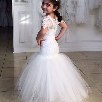 2016 New Hot Selling Mermaid Flower Girl Dresses Girls Pageant  Dress Ball Gown Half Sleeves Custom Made flower girl dress