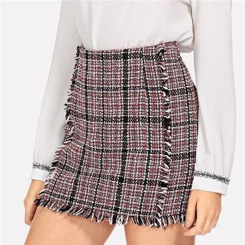 Office Lady Elegant Frayed Edge Trim Plaid Tweed Mid Waist Skirt Highstreet Fashion Women Skirts