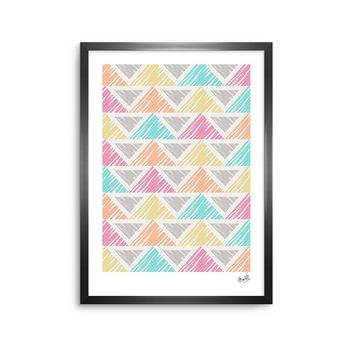 "Julia Grifol ""Pastel Triangles"" White Gray Digital Framed Art Print"