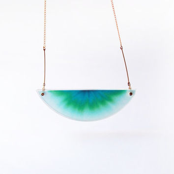 ombre necklace chromatography . gradient aurora turquoise . 14k gold filled chain . acrylic cover