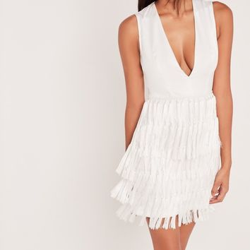 Missguided - Carli Bybel Fringed Tassel Detail Bodycon Dress White