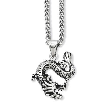 Stainless Steel Antiqued Dragon Pendant 22in Necklace