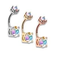 Rose Gold Aurora Sparkle Brilliant Gem Silver AB Prong Set Belly Ring Sexy