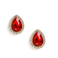 Sale- Gold Ruby Award Tear Drop Earrings