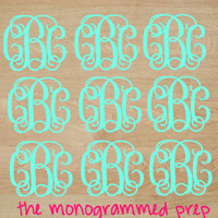 Monogram Stickers Sheet, Monogram Sticker Decal Set Pack, Water Bottle or Tumbler Stickers