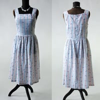 50's/60's Vintage Sun Dress Tiny Floral Print Portrait Neckline Size Medium/Large Blue, Red, Yellow on White