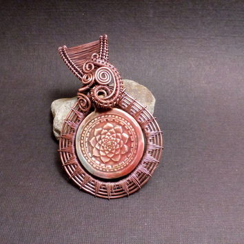 Wire Wrapped OOAK Ceramic Lotus Flower Pendant / Necklace