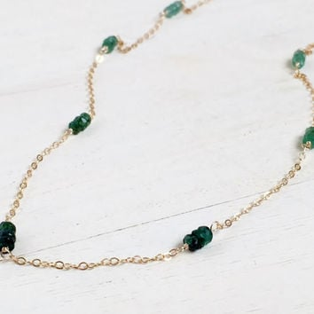 Beautiful, Genuine Zambian Emerald Rondelles, Station Necklace in 14k Gold Fill, Ombre Green Style, Emerald Necklace, Layering Necklace