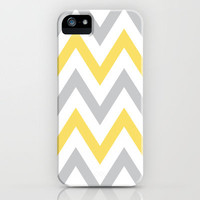 Gray & Yellow Chevron iPhone Case by daniellebourland