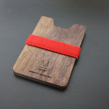 Best for Gift! Slim & Light wallet / Red X Walnut Armoury M wallet, minimalist wallet, small wood wallet, women and men's wallet