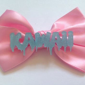 Pastel Pink Blue Kawaii Hair Bow Fairy Kei Cute Glitter Melting Dripping