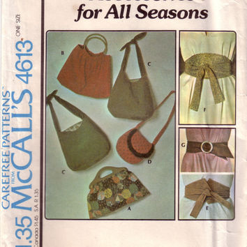 Vintage McCalls Accessories 4613,  Handbags, Purses, Belts