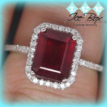First of Three Payments - Ruby Engagement Ring 3.5ct 7 x 9mm Cultured Emerald cut set in an 14k White gold single diamond halo setting