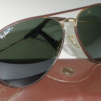 62-14mm VINTAGE B&L RAY BAN BROWN LEATHERS G15 UV GLASS LARGE AVIATOR SUNGLASSES