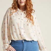 Sheer Button-Up Top in Ballet