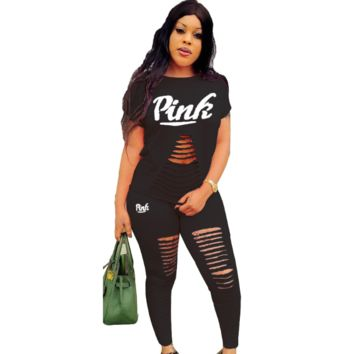 Victoria Pink Fashion New Summer Letter Print Hole Sports Leisure Top And Pants Two Piece Suit Black