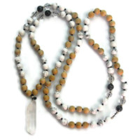White Turquoise, Labradorite with Crystal Pendant Mala, Throat Chakra