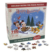 Santa Mickey Mouse and Friends Happy Holidays Retro Jigsaw Puzzle | Disney Store