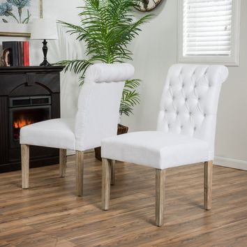 Elmerson Roll Back Off-White Dining Chairs (Set of 2)