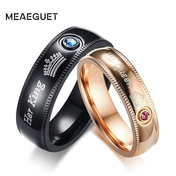 Meaeguet Couple Rings Her King His Queen Wedding Jewelry For Men Women Stainless Steel With Cubic Zirconia Engagement Gift