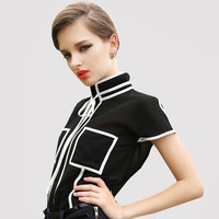 Online Shop New 2015 Women's Chiffon Shirt Short Sleeve Tops Stand Collar Contrast Color OL Blouse Black White|Aliexpress Mobile