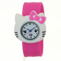 TimerMall Fashion Cartoon Hello Kitty Face Rose Red Silicone Analogue Cute Watches