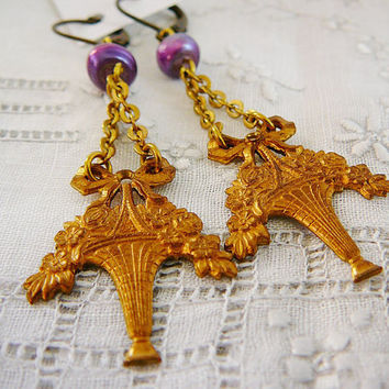 Earrings Vintage Flower Brass Dangle Pale Amethyst by DiBAjewelry