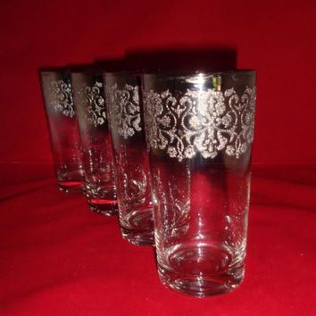 Highball Tumblers With Wide Silver Rim  S/4