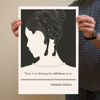 Original Illustration, Virginia Woolf quotation - Fine Art Prints - Art Posters - Literature inspired art - Dorm decor
