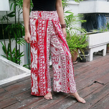 Beach Skirt Wrap Yoga Pants Harem Boho Printed Women Sarongs Fisherman Tribal Hippie Massage Rayon pants Gypsy Thai Handmade Oriental Tie