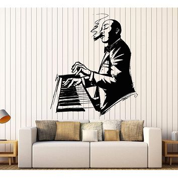 Wall Vinyl Decal Jazz Music Musician With Sigar And Piano Home Interior Decor Unique Gift z4411