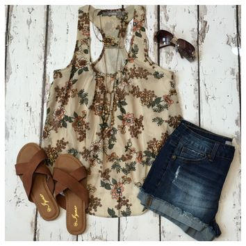 """Adorable Me"" Sleeveless Floral Beige Top"