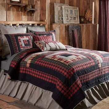 8-pc CUMBERLAND  California King - Quilt Country Set - Chili Pepper Reds, Caviar Blacks and Natural Tans - Rustic Log Cabin Blocks