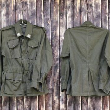 Vintage Lady's German army jacket field jacket military coat olive green canvas jacket military  jacket camo army jacket Halloween costume