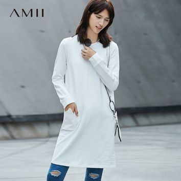 Women Dress Crew Neck Knee High Long Sleeve Solid Color Straight Dresses