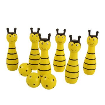 Family Friends party Board game BOHS Kids Sport Physical Bee Frog Ladybug Cow Animal Bowling Ball Children Baby Wooden Educational Toy , 1SET=6 Pins+2 Balls AT_41_3