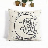 Classical Square Moon Pattern Decorative Pillowcase(Without Pillow Inner)