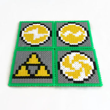 Zelda drinks coasters , hama / perler bead triforce and medallions , video game pixel art , uk seller