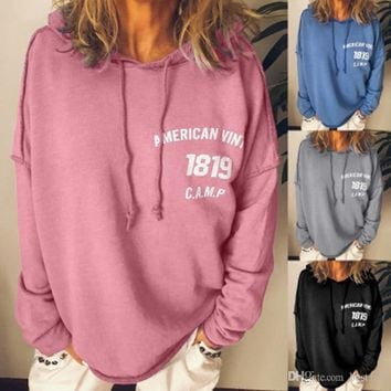 Autumn Casual Long Sleeve Sweatshirts Women Solid Hooded Pullover Tops Loose Letter Print Hoodies Blouse Plus Size 5XL