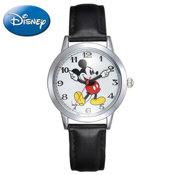 Original Disney Women Quartz Round Watch Authentic Mickey Mouse Cutie Girl Boy Love Clock Ladies Leather Band Watches Best Gift